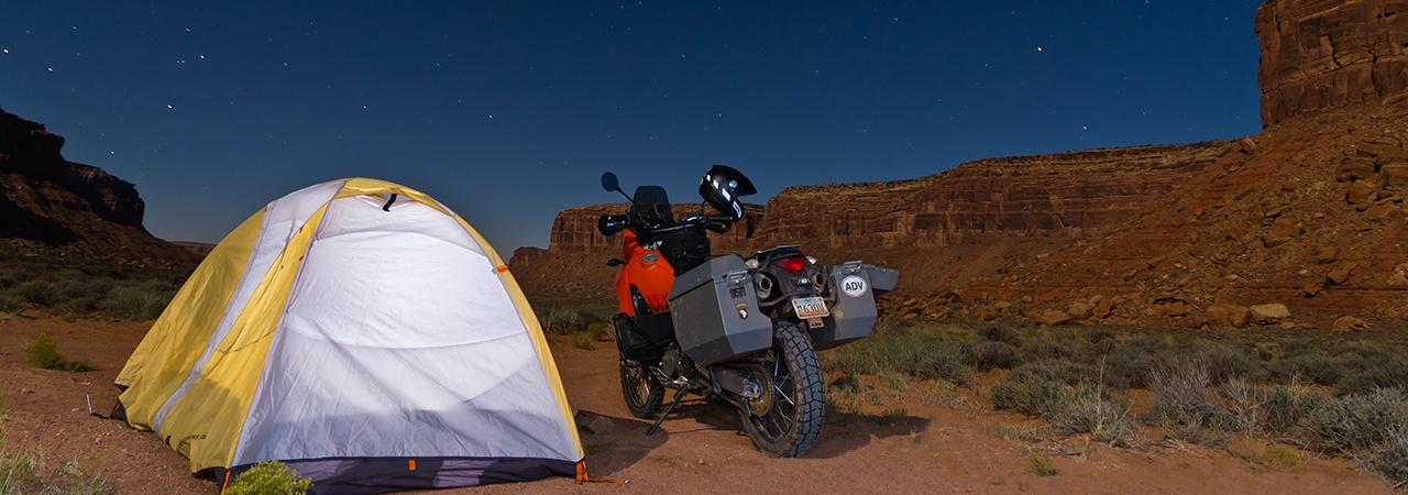 Adventure Motorcycle Luggage, Jesse Luggage, Deser Camping