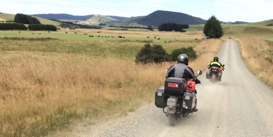 Mike 'Kiwi' Tomas riding his 1944 Indian Chief in New Zealand with ODYSSEY II panniers and top-box