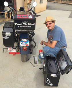 Mike Kiwi Tomas with his 1944 Indian Chief and Jesse Luggage
