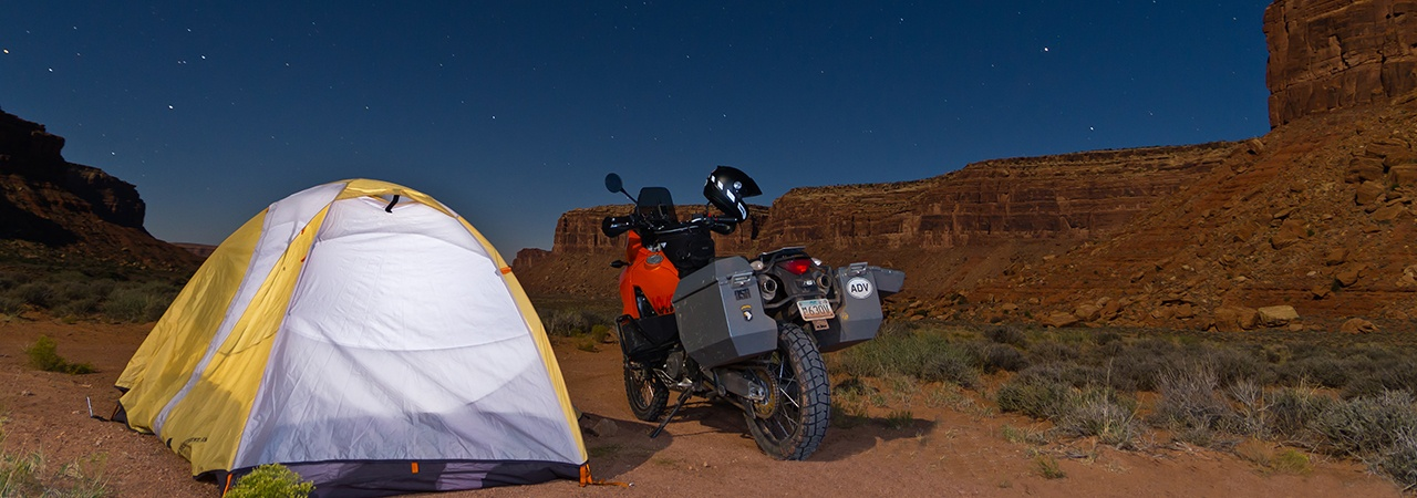 Adventure Motorcycle Luggage, Jesse Luggage, Deser Camping